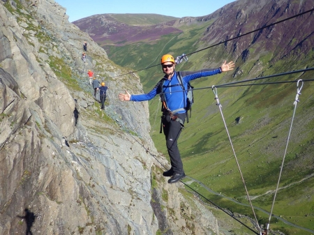 Walking on the via ferrata during a clear day - Nortwest England, via ferrata, Slate mine, Lake district, Scary