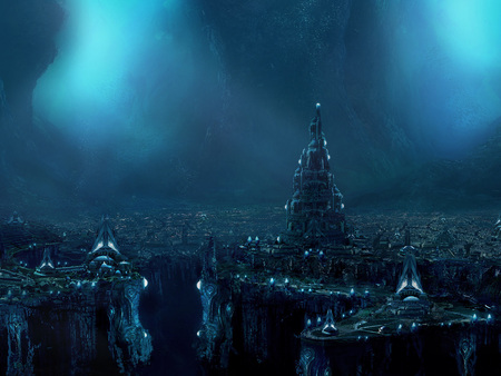 Atlantis - lost city, widescreen, ocean, deep, popescu, wds, alex popescu, atlantis, fantasy, underwater, city, sea, ad