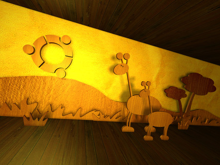 Ubuntu wood sunset - linux, 3d, ubuntu, box, sunset, wood