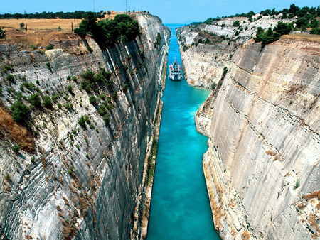 Corinth Canal, Greece - canal, greece, ocean, boat