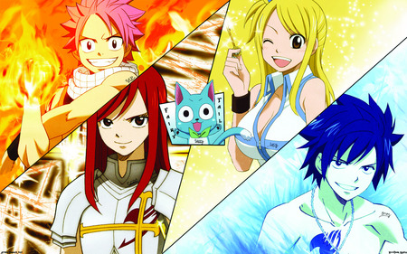 Fairy Tail - gray, lucy, natsu, erza, fairy tail, happy