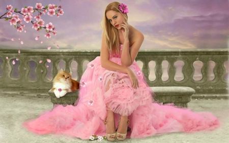 Waiting Here For You  - blonde, lovely, pink, softness, pretty, Feminine, lady, bench, Sitting, digital, beautiful, gown