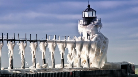 Russian lighthouse frozen by waves hitting and freezing - Russia, Freezing, Waves, Lighthouse, Ice
