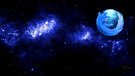 Firefox Space - stars, logo, Firefox, browser, space, plant, galaxy, blue