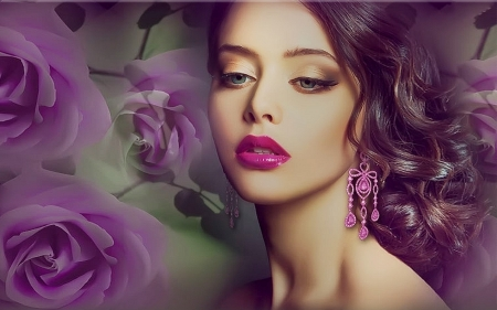 Softness and Beauty (for Welcha) - brunette, pretty, purple, beautiful, face, Woman, Portrait, roses