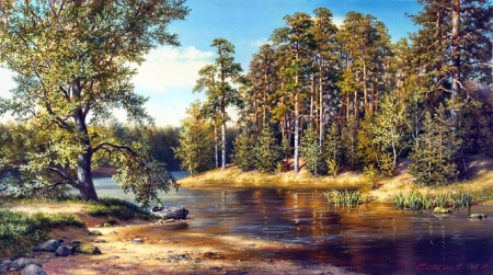 lovely creek in autumn - autumn, lovely, painting, nature, creek, rivers