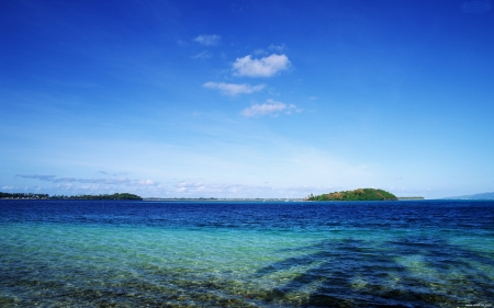 Tahiti Blue Sea - nature, sky, tahiti, sea, blue