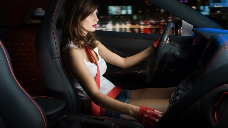 woman driving a nissan gtr - brunette, woman, nissan, car