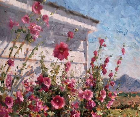 Hollyhocks in Summer - art, beauty, love, illustration, hollyhocks, flower, romance, floral, wide screen, beautiful, summer, artwork, nature, painting