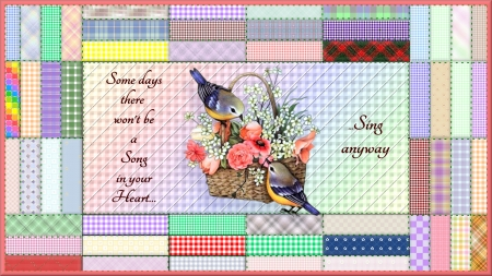 Sing Anyway - birds, text, quilt, stitch