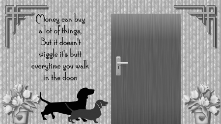 Wiggle Butt - text, two, door, dog