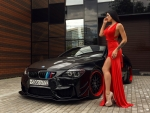 Model with a Black BMW