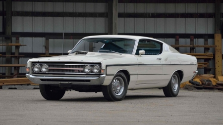 1969-Ford-Torino-GT - Muscle, Ford, White, Classic