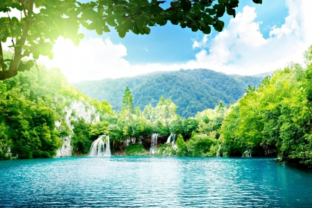 Forest Falls - forest, waterfall, clouds, mountains, trees, nature, lake