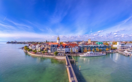 Friedrichshafen, Baden-Wurttemberg - architecture, ocean, town, beautiful, sky, sea, bridge, wallpaper, blue