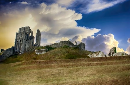 A Ruined Castle - scenic, Castle, ancient, fortress, ruin, clouds, landscape