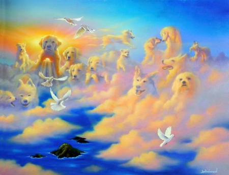 Companions above the Clouds - island, ocean, sky, birds, dogs, artwork, painting