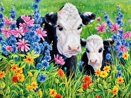 Pastures Edge - Cows FC - art, illustration, flowers, cows, pasture, farm animals, wide screen, beautiful, artwork, painting