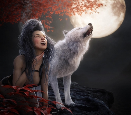 Howling at the Moon - leaves, night, girl, wolf, autumn