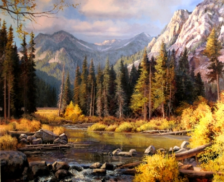 Lake in Autumn - nature, autumn, painting, lake