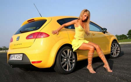 Blonde With Car - pretty, model, car, yellow, blonde, sexy