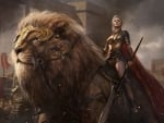 warrior woman and her lion