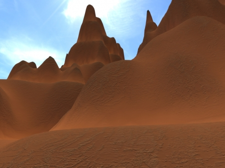 Sand Dunes of The Desert - beauty, blender, wallpaper, sand, 3d, sanddunes, dunes