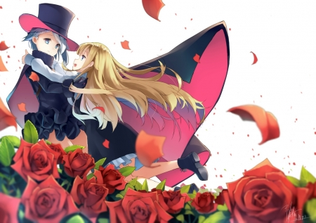 :-) - red, rose, manga, black, hat, girl, anime, petals, couple