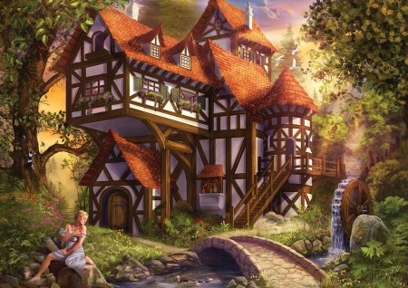 Watermill - fantasy, watermill, luminos, girl, drazenka kimpel