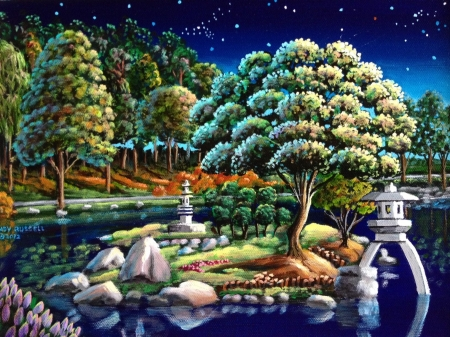 Japanese gardens - garden, art, andy russell, water, bonsai, pictura, japanese, luminos, tree, painting