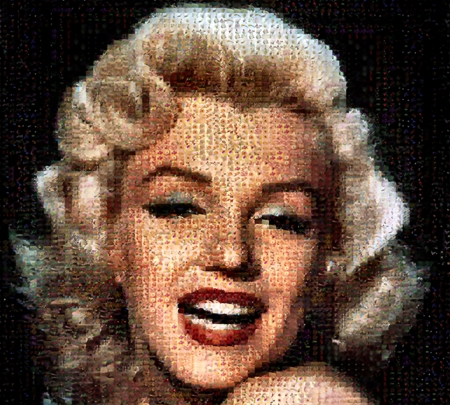 Marilyn Monroe - Photomosaic - movie star, art, celebrity, film star, beautiful, films, cinema, illustration, artwork, actress, painting, wide screen, movies, portrait