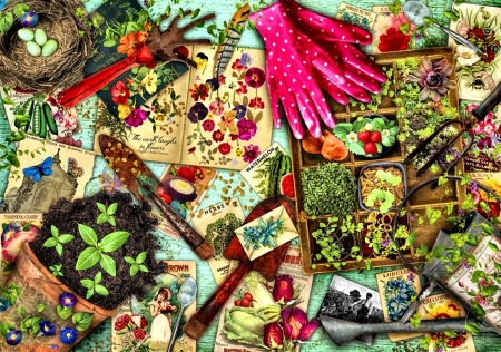 Green Thumbs - art, illustration, gloves, gardening, wide screen, beautiful, artwork, nature, painting