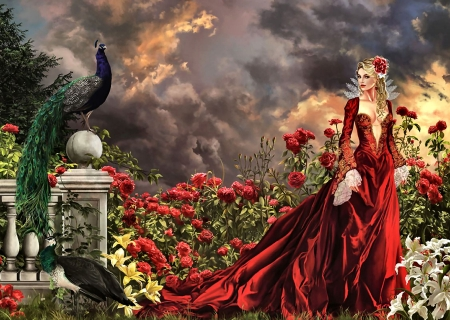 Concubine FC - art, illustration, concubine, flowers, people, bird, avian, lady, wide screen, beautiful, artwork, peacock, painting