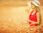Beautiful Blonde Out in a Field of Barley