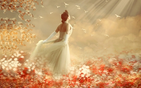 Nothing Holds Her Back  - lovely, Dreamy, softnesss, flowers, sunshine, Lady, feminine, digital, field, ethereal, dreamy