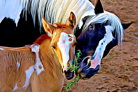 MOTHER AND FOAL - ABSTRACT, FRACTAL, MOTHER, FOAL