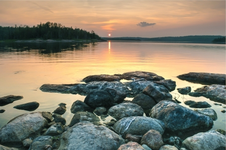 Rocky Sea Shore at Sunset - shore, stones, nature, sunset, sky, sea