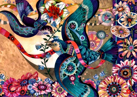 Art Puzzle - Bird F - pattern, art, beautiful, abstract, illustration, artwork, bird, texture, painting, wide screen, flowers, computer graphics
