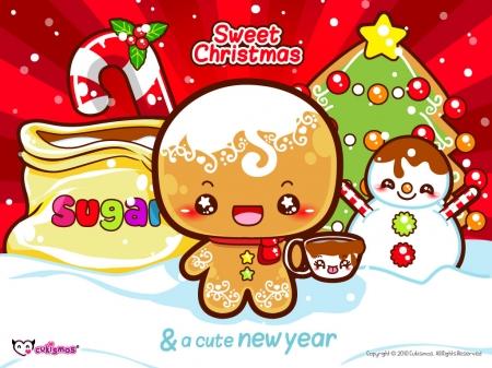 Kawaii Christmas.Kawaii Christmas Gingerbread Man Other Anime Background