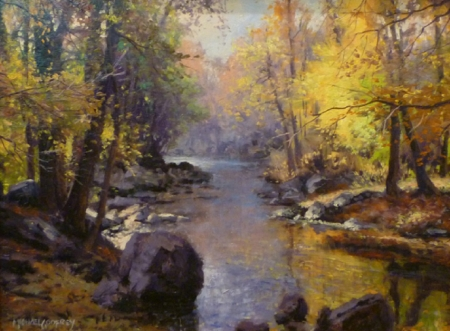 Autumn on the creek - creek, rivers, nature, autumn, painting