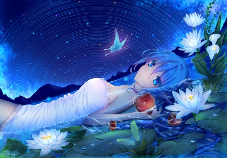 Hatsune Miku - vocaloid, lotus, luminos, hatsune miku, manga, lake, water, butterfly, girl, anime, summer, flower, white, blue