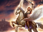 Girl riding a Pegasus