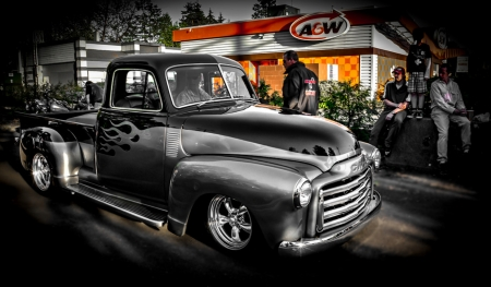 Custom Made 1940's GMC Pick Up - photograph, HDR, custom made, pick up, black, truck