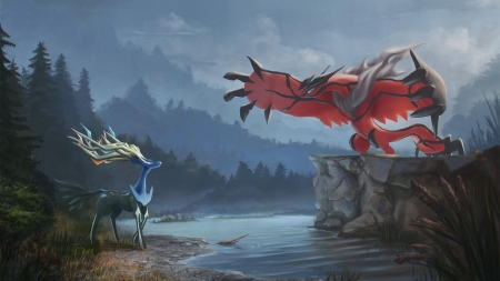 Xerneas vs Yveltal - Legendary, Yveltal, Pokemon, Water, Xerneas, Anime