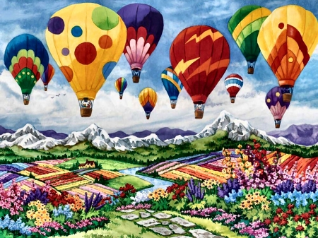 Spring is in the Air F - balloons, art, illustration, flight, spring, aviation, scenery, four seasons, wide screen, beautiful, aircraft, artwork, painting