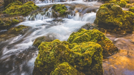 Creek Waterfall - stones, creek, waterfall, moss, nature