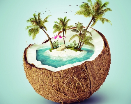 Coconut Island - brown, coconut, creative, sea, fruit, fantasy, water, green, summer, island, palm tree, blue
