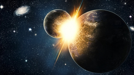 Collision Course - stars, planets, 3d, space, collision, digitial art