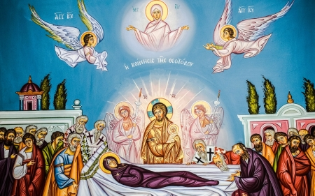 Assumption of Virgin Mary - Jesus, icon, apostles, Mary, angels, Assumption