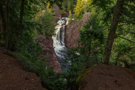 Brownstone Falls - Waterfall, Pines, Sunset, Tranquil
